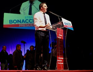 Renziani - Matteo Renzi speaks during a Democratic rally in Bologna.