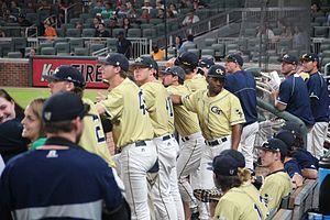 Georgia Tech Yellow Jackets baseball - Georgia Tech players in a dugout at SunTrust Park, 2017