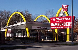Ray Kroc - Ray Kroc's first (April 1955) franchised restaurant in the chain, Des Plaines, Illinois, USA