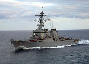 USS McFaul underway in the Atlantic Ocean.