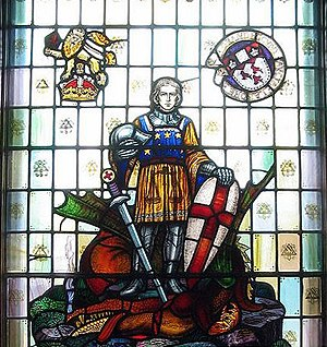 Charles William Kelsey - A war memorial window (1950) by Charles William Kelsey in the McGill University War Memorial Hall depicts St. Michael and the dragon, c.1950