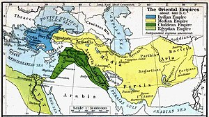 Parthia - The region of Parthia within the empire of Medes, c. 600 BC; from a historical atlas illustrated by William Robert Shepherd