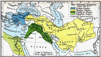 The Median Empire, Lydian Empire, and Chaldean Empire, prior to Cyrus the Great's conquests.