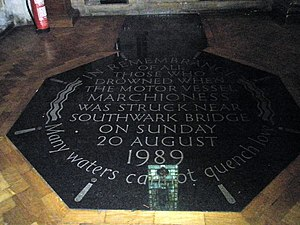 Marchioness disaster - Memorial in Southwark Cathedral