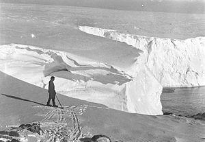 Xavier Mertz - Mertz on the ice cliff near the base