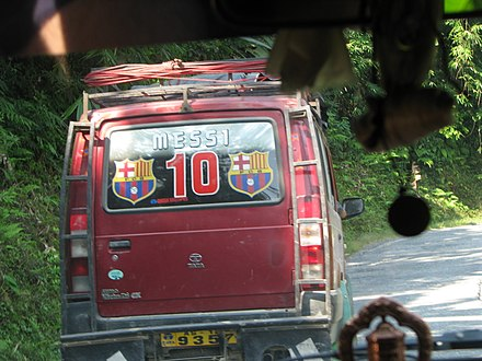 Fans of Messi in India decorated this vehicle Messi car.jpg