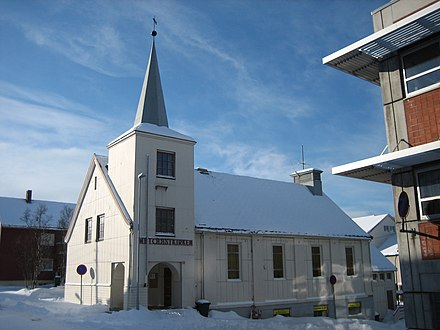 Hammerfest Methodist Church in Norway was the world's most northerly Methodist congregation when established in 1890. Methodist Church in Hammerfest.jpg