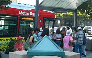 Metro Rapid - Metro Rapid stop demonstrating the new design and NextBus technology