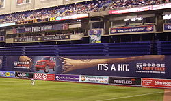 "The Metrodome's ""baggie"" in right field."