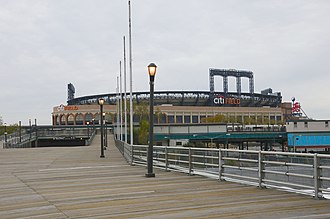 Mets–Willets Point (IRT Flushing Line) - Ramp to station from LIRR with Citi Field in the background