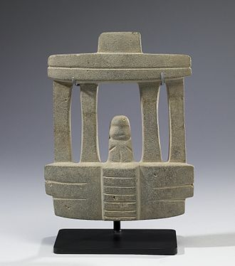 Mezcala culture - Mezcala  Temple Model,  Walters Art Museum. The Mezcala sculptural style emphasizes geometric abstraction in both human figures and architectural models.