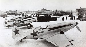 177th Fighter Aviation Regiment PVO - A group of MiG-3s of the type flown by the regiment