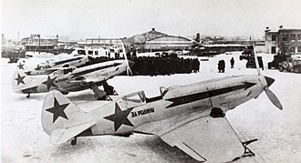 177th Fighter Aviation Regiment PVO - A group of MiG-3s of the type flown by the regiment from 1941 to 1944