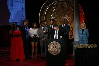 Parks and Recreation - Mike Schur accepts the Peabody for Parks and Recreation. He is joined on stage by Retta, Jim O'Heir, Aubrey Plaza, Aziz Ansari, Adam Scott, Nick Offerman and Amy Poehler at the 71st Annual Peabody Awards.