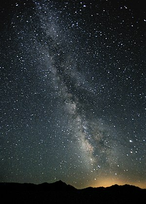 Milky Way - A view of the Milky Way toward the constellation Sagittarius (including the Galactic Center) as seen from an area not polluted by light (the Black Rock Desert, Nevada). The bright object on the right is Jupiter, just above Antares.