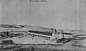 Jack Powers - Mission Santa Barbara in 1856; view from the northeast.  The Powers gang, which had their headquarters behind the Mission to the right, left Santa Barbara shortly before this picture was made.