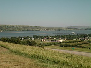 Interstate 90 in South Dakota - The Lake Francis Case portion of the Missouri River viewed from a rest stop just south of Chamberlain; the pre-interstate Chamberlain Bridge is in the center.