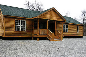 Prefabricated home - A modern North American log style prefabricated house