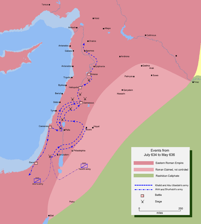 Map detailing the route of the Muslim invasion of central Syria Mohammad adil-Muslim invasion of Syria-3.PNG