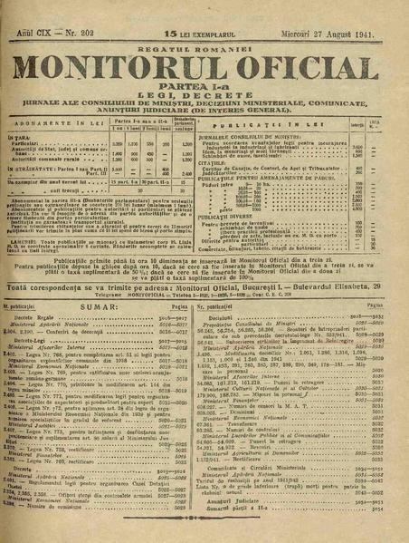 File:Monitorul Oficial al României. Partea 1 1941-08-27, nr. 202.pdf