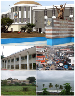Images top, left to right: Capitol Building, Monrovia City Hall, Downtown Monrovia, University of Liberia, Monrovia Bay