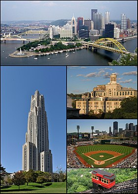 Do topo, da esquerda para a direita: panorama de Pittsburgh; Cathedral of Learning na Universidade de Pittsburgh; Universidade Carnegie Mellon; PNC Park e Duquesne Incline.
