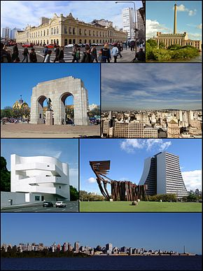 From upper left: Porto Alegre Public Market; Plant of Gasômetro; view of the city; Monument to the Azores before the building of the Addministrative Center of the Rio Grande do Sul; panoramic view of the city from Guaíba River; Iberê Camargo Foundation; and the Monument to the Expeditionary at the Farroupilha Park.