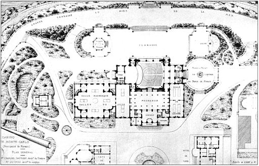 Monte Carlo Casino general plan 1879 - Croquis d'architecture 1879 - Bonillo 2004 p114