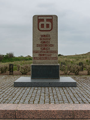 90th Infantry Division (United States) - The monument to the 90th US Infantry Division at Utah Beach, Manche, Normandy, France.