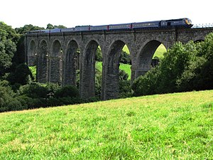 Cornish Main Line - A train from London Paddington to Penzance crosses Moorswater Viaduct