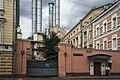 Moscow, Sadovnicheskaya 11, gates and smokestacks.jpg