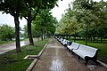Moscow, park benches near Novodevichy Pond on a rainy day.jpg