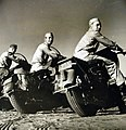 Motorcycle couriers await call during Tripartite Conferences in Cairo, Egypt, 1943 (23773209874).jpg