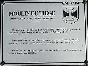 Nil-Saint-Vincent-Saint-Martin - Image: Moulin Du Tiege Sign