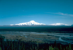 Mount Sanford (Alaska) - Mount Sanford (left) and Mount Wrangell in 1981