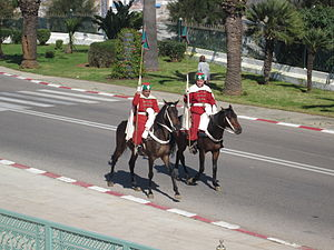 Moroccan Royal Guard - Mounted members of the Moroccan Royal Guard at the Mausoleum of Mohammed V.