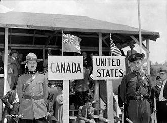 Canada–United States relations - A Canadian Mountie and a Vermont State Trooper on their respective sides of the Canada–United States (Quebec–Vermont) border in 1941