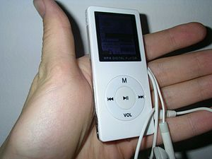 Picture of MP4 player. Very similiar to iPod Nano.