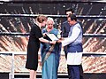 Mridula Sinha presenting the ICFT-UNESCO Gandhi Medal to the Marathi Film KSHITIJ-A HORIZON by Manouj Kadaamh, at the closing ceremony of the 48th International Film Festival of India (IFFI-2017), in Panaji, Goa.jpg