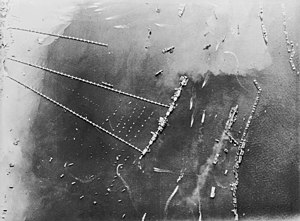 "Mulberry harbour - Aerial view of Mulberry harbour ""B"" (October 27, 1944)"
