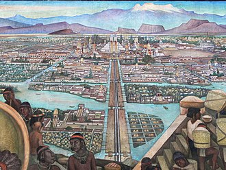 1945 Mural by Diego Rivera depicting the view from the Tlatelolco markets into Mexico-Tenochtitlan, the largest city in the Americas at the time. Murales Rivera - Markt in Tlatelolco 3.jpg