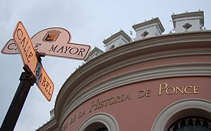 Museo de la Historia de Ponce - Front facade of the Ponce History Museum at Mayor and Isabel Streets