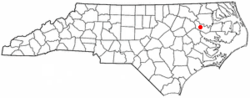 Location of Everetts, North Carolina