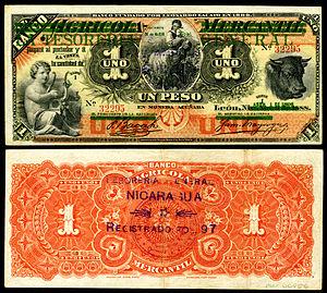 Nicaraguan peso - Tesoreria General overprinting of an Agricola Mercantile banknote, 1 Peso (1896).