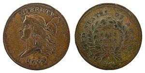 Half cent (United States coin) - Image: NNC US 1793 ½C Liberty Cap Half Cent (left)