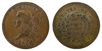 Half cent (United States coin) - Image: NNC US 1793 ½C Liberty Cap Half Cent (left)