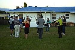 Twilight bagpipe band practice, Napier.