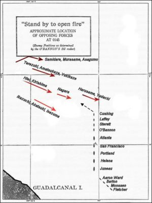 Naval Battle of Guadalcanal - Position of Japanese and U.S. ships at 01:45 on 13 November.