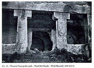 Necropolis of Cyrene - Image: Necropolis of Cyrene tomb entrance Wadi Bel Ghadir Weld Blundell 1894
