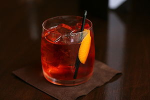 Bartending terminology - A negroni cocktail served on the rocks